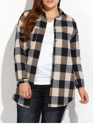 Plus Size High Low Plaid Shirt