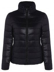 Zip Up Stand Collar Thin Quilted Jacket