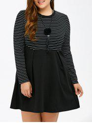 Long Sleeve Patchwork Striped Plus Size Dress