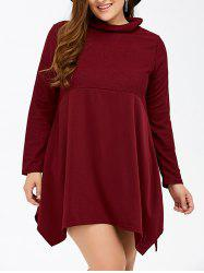 Long Sleeve Asymmetrical Plus Size Handkerchief Dress