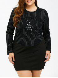 Long Sleeve Embellished Plus Size Bodycon Dress