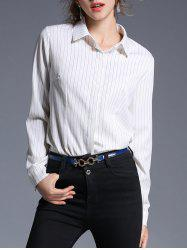 Tuxedo Striped Turndown Collar Shirt