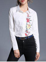 Hidden Button Flower Embroidery Shirt