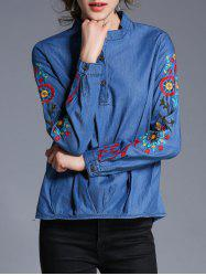 Embroidery Pullover Denim Shirt - BLUE XL