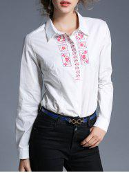 Embroidery Turndown Collar Shirt -