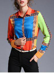 Geometric Printed Satin Color Block Shirt