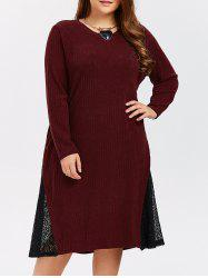 Lace Panel Plus Size Knitted Dress - WINE RED 4XL