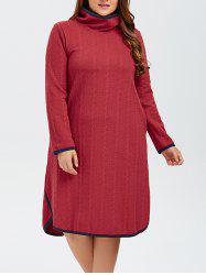 Plus Size High Neck Side Slit Knitted Dress -