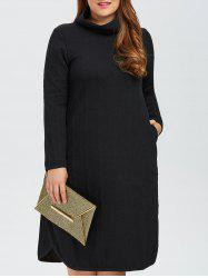 Plus Size High Neck Side Slit Knitted Dress