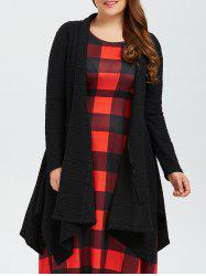 Plus Size Asymmetric Dotted Knitted Long Duster Cardigan - BLACK