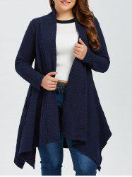 Plus Size Asymmetric Dotted Knitted Long Duster Cardigan - PURPLISH BLUE