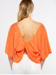 Batwing Sleeves Twist Open Back T-Shirt