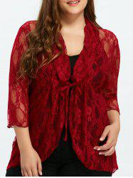 Drawstring Asymmetric Lace Jacket - RED