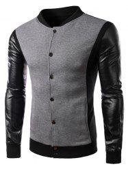 Color Block PU Leather Panel Button Jacket