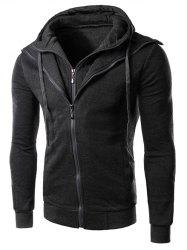 Double Zippers Faux Twinset Hoodie