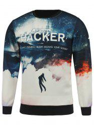 Crew Neck Hacker Printed Cloud Sweatshirt