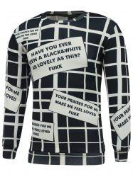 Crew Neck Graphic Printed Grid Sweatshirt