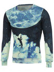 Crew Neck 3D Earth Man Printed Sweatshirt