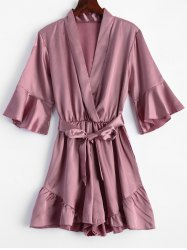 Belted Flounce Satin Romper - PINK