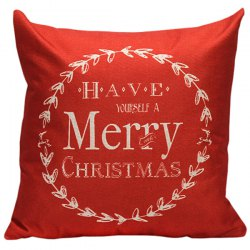 Merry Christmas Linen Cushion Throw Pillow Cover - RED