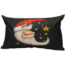Christmas Santa Moon Linen Bed Throw Pillow Cover