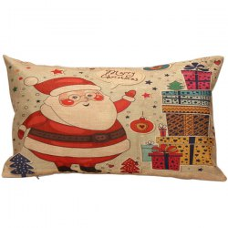 Santa Gift Printed Christmas Bed Throw Rectangle Pillow Cover - COLORMIX