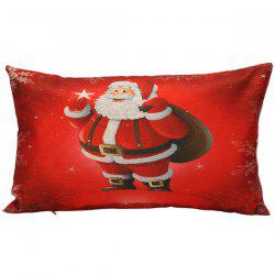 Retangle Santa Claus Printed Christmas Pillow Cover - RED