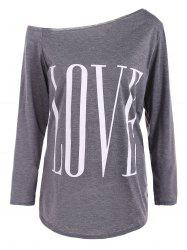 Skew Neck LOVE Print T-Shirt -