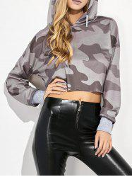 Camouflage Print Hooded Crop Top -