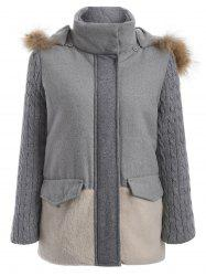Color Block Faux Fur Hooded Coat