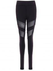 Running Mesh Insert Leggings - BLACK