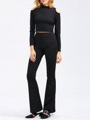 Cold Shoulder Crop Tee and Bootcut Flared Pants - BLACK XL