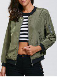 Satin Zip Up Pocket Design Thin Bomber Jacket - ARMY GREEN