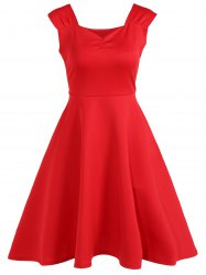 Vintage High Waist A Line Dress - RED XL