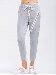 Drawstring Running Pants With Zipper