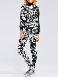 Zebra Striped Crop Running Jacket and Skinny Pants - ZEBRA STRIPES