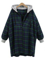 Plus Size Checked Hooded Cocoon Coat -