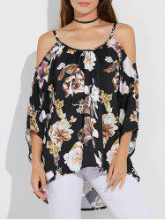 Floral Print Asymmetrical Cut Out Blouse -