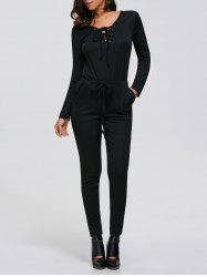 Criss-Cross Drawstring Long Sleeve Jumpsuit