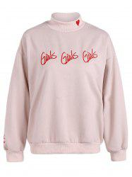 Letter Embroidered Heart Graphic Sweatshirt -