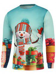 Christmas Snowman Gift Printed Sweatshirt - BLUE 3XL