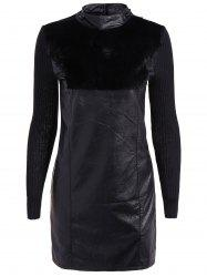 Faux Leather Insert Fur Embellished Dress