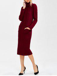 Long Sleeve Turtleneck Cable Knit Sweater Dress
