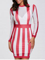 Long Sleeve See Thru Bandage Club Dress