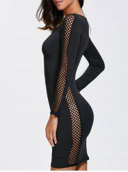 Long Sleeve Club Dress With Criss Cross - BLACK XL