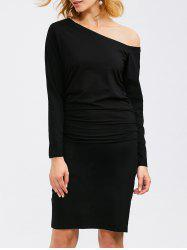 Long Sleeve Skew Neck Ruched Bandage Dress - BLACK
