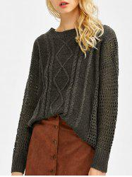Drop Shoulder Hollow Out Cable Knit Sweater