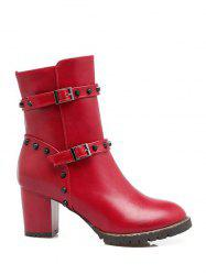 Rivet Double Buckle Straps Chunky Heel Boots - RED