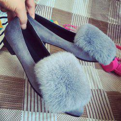 Faux Fur Pointed Toe Flat Shoes -