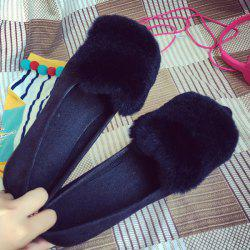 Faux Fur Pointed Toe Flat Shoes - BLACK